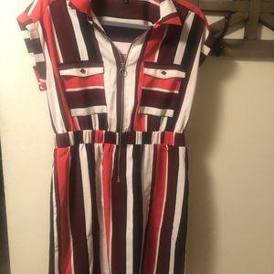 Collard zip front dress